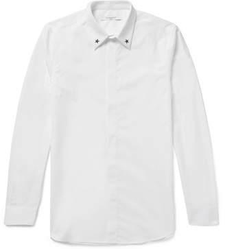 Givenchy Cuban-Fit Star-Embellished Cotton-Poplin Shirt