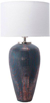 nuLoom 18In Rose Fluted Glass Canvas Shade Table Lamp