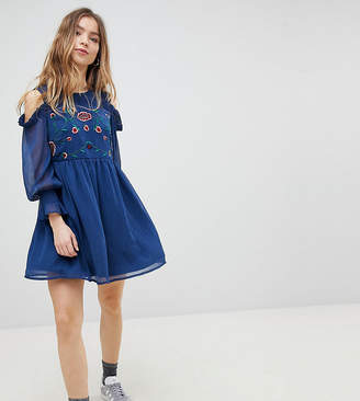 Glamorous Petite Smock Dress With Cold Shoulder And Embroidery