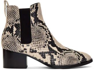 Rag & Bone Black and White Snake Walker Boots