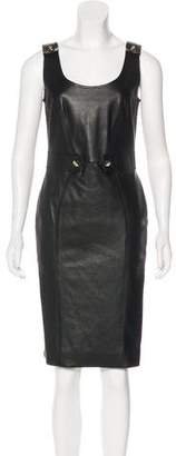 Versace Leather Knee-Length Dress w/ Tags