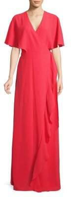 Halston H Crinkle Ruffle Wrap Maxi Dress