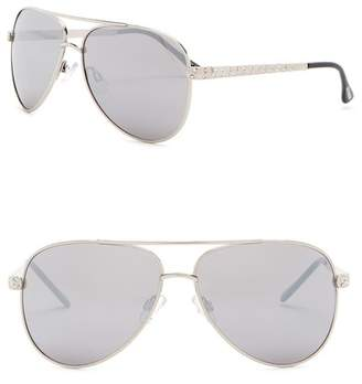 Steve Madden 60mm Rhinestone Studded Aviator Sunglasses