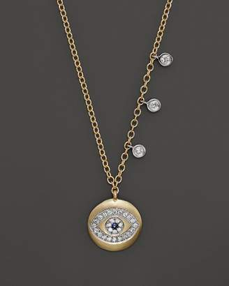 Meira T Yellow Gold Evil Eye Necklace with Diamond Bezels, 16""