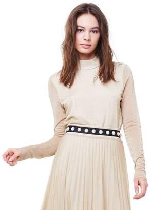Juicy Couture Lurex Jersey Mock Neck Top