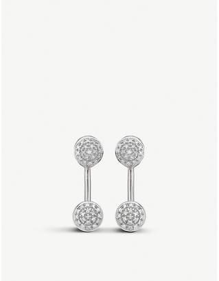 Monica Vinader Fiji mini button diamond and silver jacket earrings