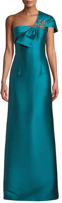 Sachin + Babi Ines One-Shoulder Gown w/ Bow