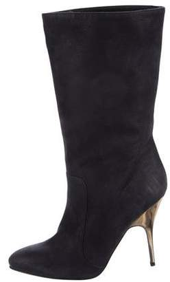 Lanvin Leather Round-Toe Mid-Calf Boots