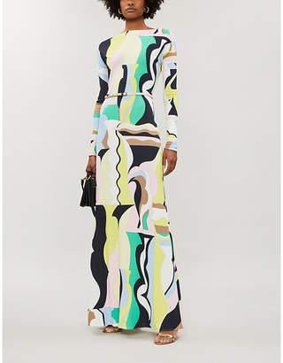 Emilio Pucci Signature-print boat-neck stretch-jersey dress