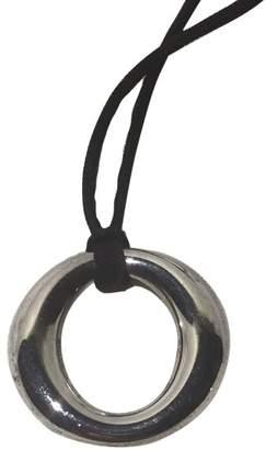 Tiffany & Co. Elsa Peretti Sevillana 925 Sterling Silver Pendant On Black Silk Cord Necklace