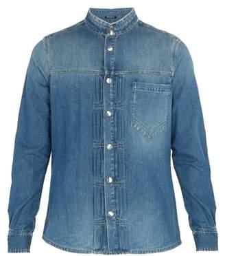 Balmain Pleated Denim Shirt - Mens - Blue