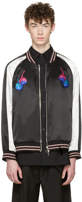 D by D Black Satin Trolls Bomber Jacket $555 thestylecure.com