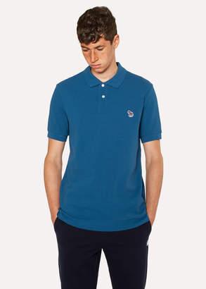 Paul Smith Men's Petrol Blue Organic Cotton-Pique Zebra Logo Polo Shirt