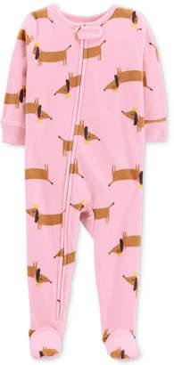 Carter's Baby Girls Dog-Print Footed Fleece Pajamas