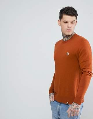 Pretty Green Hinchcliffe Crew Neck Sweater in Orange