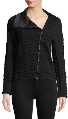 Giorgio Armani Asymmetric-Zip Textured Knit Jacket w/ Satin Collar