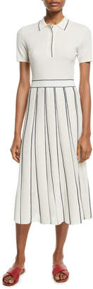 Loro Piana Short-Sleeve Polo-Top Pleated-Skirt Cashmere-Silk Midi Dress