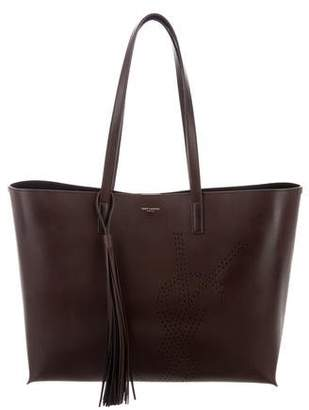 Saint Laurent Perforated Leather Shopping Tote