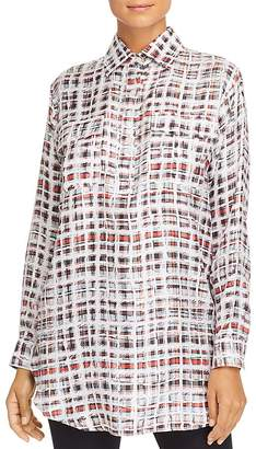 Burberry Sirena Silk Plaid Tunic Top
