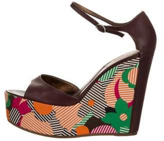 Kenzo Leather Floral Wedge Sandals Leather Floral Wedge Sandals