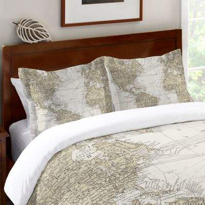 Laural Home Get Out and See the World Standard Pillow Sham in Beige