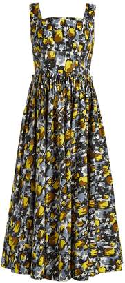 Marni Square-neck tulip-print dress