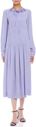 N°21 (ヌメロ ヴェントゥーノ) - N 21 シルク混 モチーフ ギャザーデザイン 長袖ドレス パープル 36