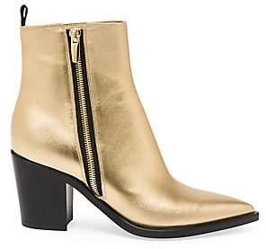 Gianvito Rossi Women's Berkley Zipper Metallic Leather Ankle Boots