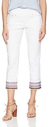 Jag Jeans Women's Peri Straight Pull on Ankle Jean w/Embellishment