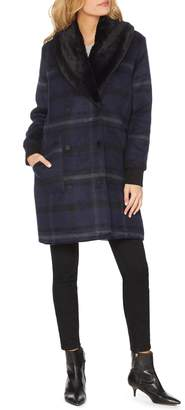 Michael Stars Wool Blend Coat with Removable Faux Fur Collar