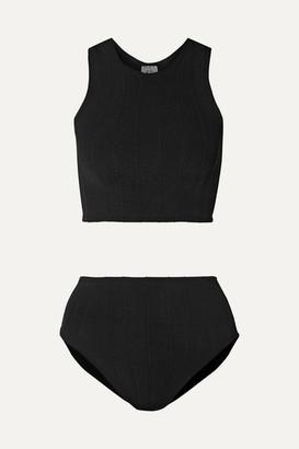 Hunza G Iris Ribbed Seersucker Bikini - Black
