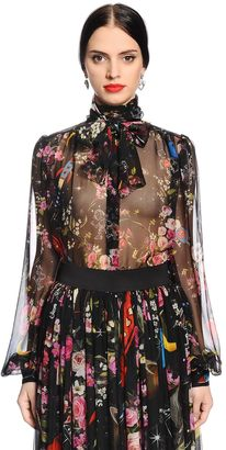 Flowers & Space Printed Chiffon Shirt $975 thestylecure.com