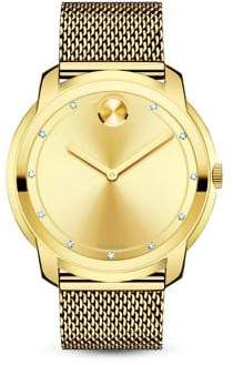 Movado Bold Diamond& Goldtone Stainless Steel Mesh Bracelet Watch - Gold