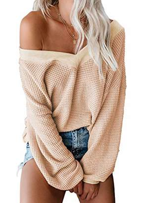 Actloe Women V Neck Off Shoulder Sweater Long Batwing Sleeve Knit Pullover Tops