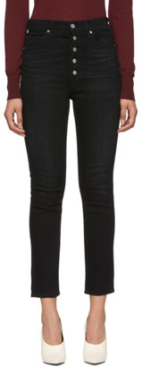 Citizens of Humanity Black Olivia High-Rise Exposed Fly Jeans