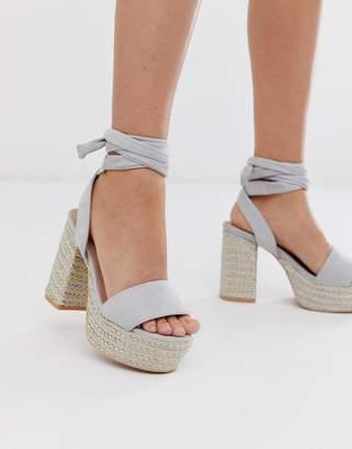 Lost Ink Bali tie leg heeled platform sandals
