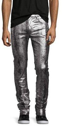 McQ Alexander McQueen Metallic Painted Denim Slim-Straight Jeans, Silver/Gray $370 thestylecure.com