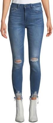 DL1961 Premium Denim Farrow High-Rise Distressed Ankle Skinny Jeans