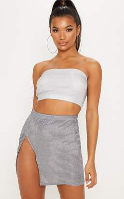 PrettyLittleThing Black Lurex Extreme Split Mini Skirt