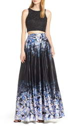 Sequin Hearts Satin & Lace Two-Piece Evening Dress