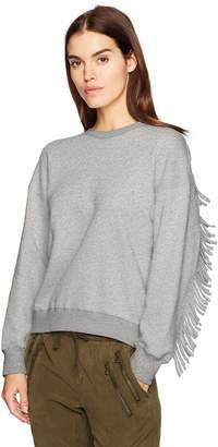J.o.a. Women's Fringe Back Casual Soft Pullover Fashion Sweatshirt