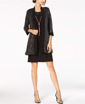 R & M Richards Petite Sequined Metallic-Knit Dress, Jacket & Necklace