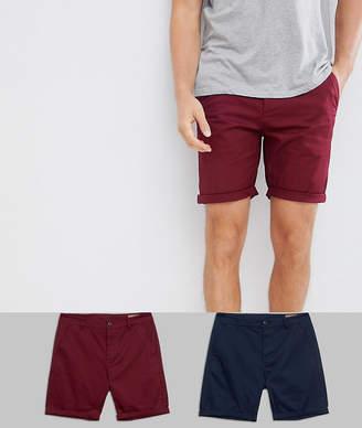 Asos DESIGN 2 pack slim chino shorts in navy & burgundy save