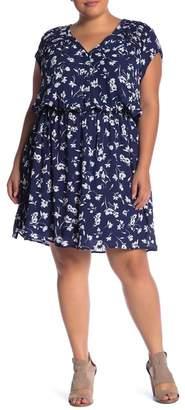 Daniel Rainn DR2 by Pleated Shoulder Cap Sleeve Printed Dress (Plus Size)