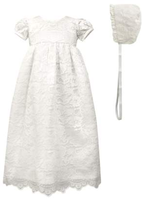 C.I. Castro & Co. Scalloped Lace Christening Gown & Bonnet