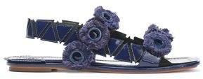 Tory Burch Fringed Eyelet-Embellished Patent-Leather Sandals