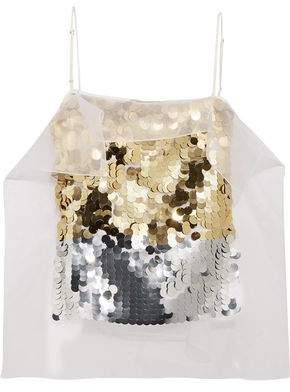 Christopher Kane (クリストファー ケイン) - Christopher Kane Sequin-Paneled Satin-Crepe Top
