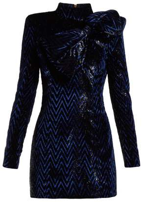 Balmain Chevron Striped Bow Embellished Mini Dress - Womens - Black Blue