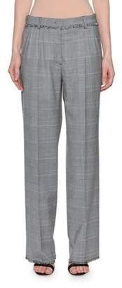 MSGM Wool Straight-Leg Plaid Trousers