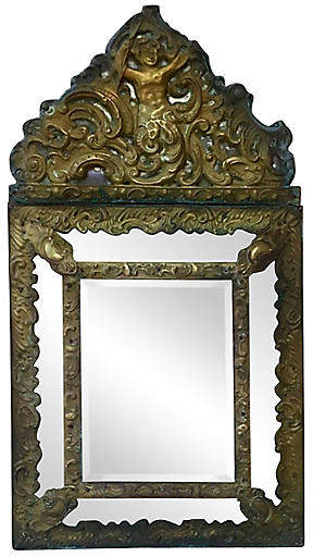 One Kings Lane Vintage French Repousse Brass Mirror - majolicadream